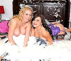 2 amazing big tits babes in lingerie throw a feather pillow fight then get both of their hot boxes fucked hard by a hard cock in these hot pussy rocking cumfaced videos